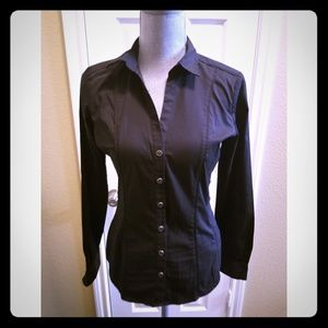 NY&C Fitted Madison Black Long Sleeve Button Down